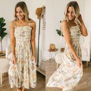 Free People Isla Floral Ivory Midi Dress Medium